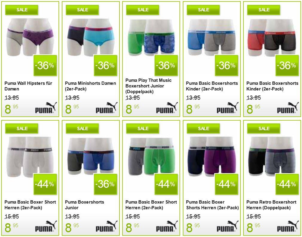 PUMA Damen, Herren und Kinder Unterwäsche heute im Sale bei Plutosport