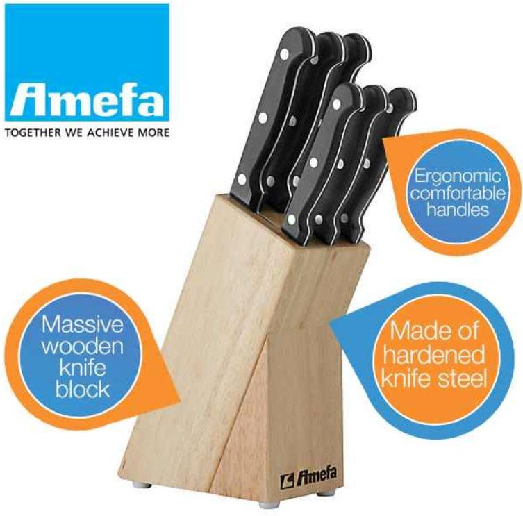 Amefa 6 teiliges Messerset mit hölzernem Messerblock für 20,90€