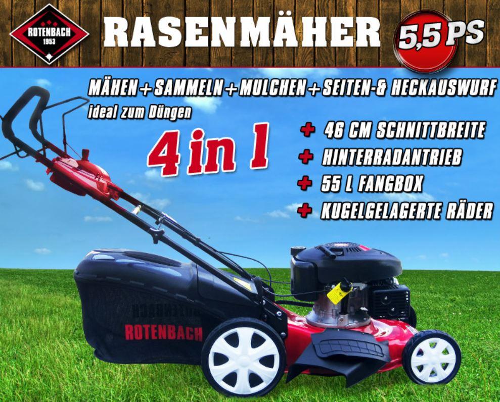 Rotenbach 4in1 Benzin Rasenmäher mit 5,5 PS für nur 179€