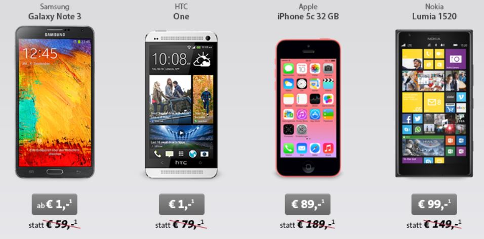 Apple iPhone 5c für 89€ oder NOKIA Lumia 1520 für 99€ mit dem MoWo Tel easy Vertrag monatl. 14,95€