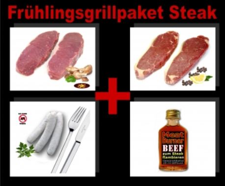 Frühlingsgrillpaket Steaks (1,3KG + Meat Burner) von GourmetStar für nur 39,95€ inkl. Versand