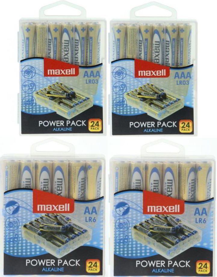 96 Maxell Alkaline Batterien (48x AA Mignon + 48x AAA Micro) für 19,99€