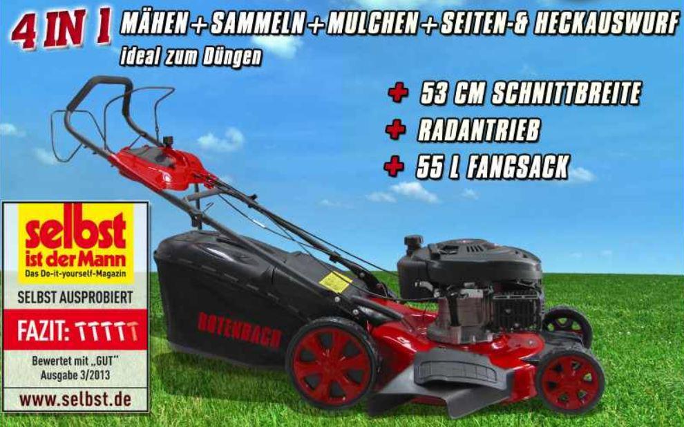 ROTENBACH   4in1 Benzin Rasenmäher mit 6 PS und 53cm Schnittbreite für 239€
