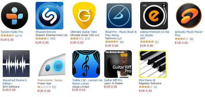 11 Musikapps (Android) im Wert von 44€ heute kostenlos