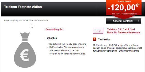 Telekom DSL Call & Surf Basic – reine DSL Flat für 9,95€ pro Monat (junge Leute 4,95€)