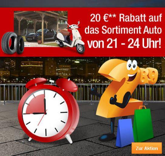 Plus.de   bis 24Uhr 20€ Rabatt bei Auto Artikeln mit 100 €MBW