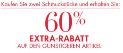 Schmuck mit 60% Rabatt auf den 2ten Artikel   Esprit, Fossil, s.Oliver uvm.   Update