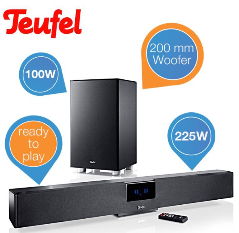 Teufel Cinebar 21 XL Set   Active Speaker mit Subwoofer für 388,90€