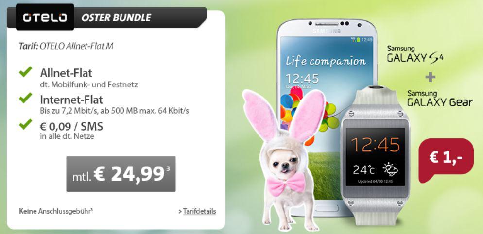 SAMSUNG Galaxy S4 mit Galaxy Gear V700 einmalig 1€ mit OTELO Allnet Flat M für 24,99€ monatl.