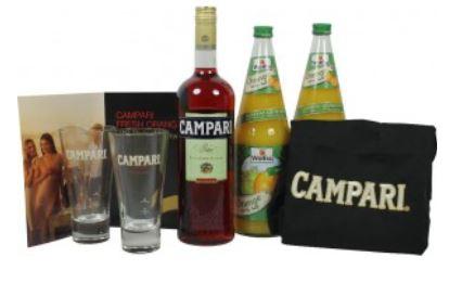 1L Campari Orange Set mit 6 Gläsern, Schürze und 2 L Premium O Saft für 25€ inkl. Versand
