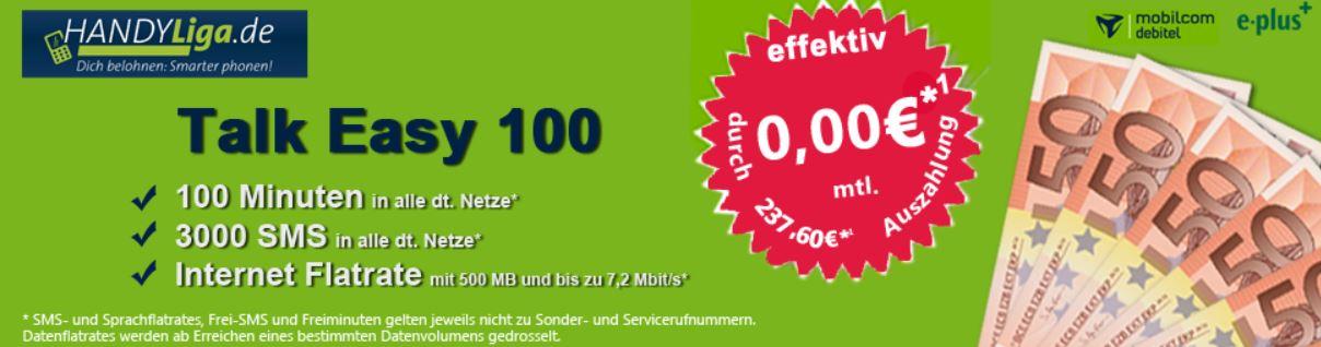 Gratis! eplus Talk Easy 100 mit 100 Freimin, 3.000 frei SMS und 500MB nur 0€ monatl.