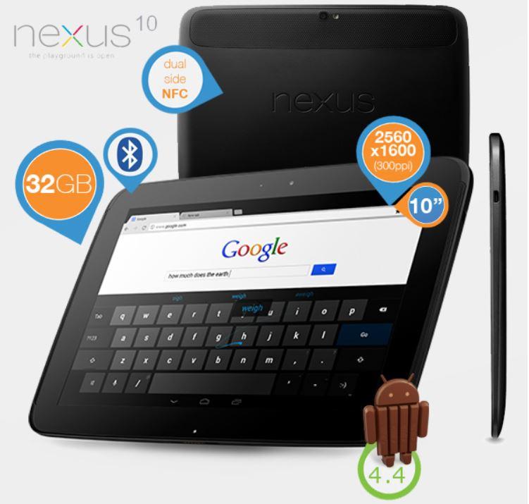 Google / Samsung Nexus 10   WiFi Tablet mit 32GB und 2560x1600 Auflösung für 275,90€
