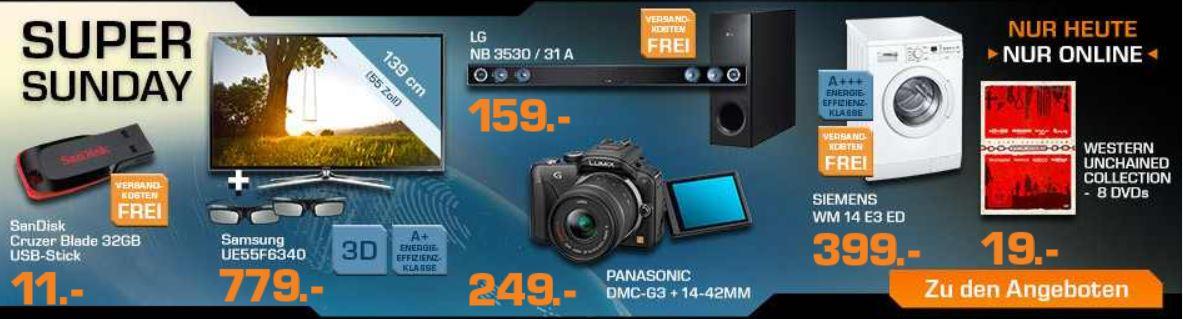 SAMSUNG UE55F6340   55Zoll 3D TV ab 779€ und mehr bei den Saturn Super Sunday Angeboten