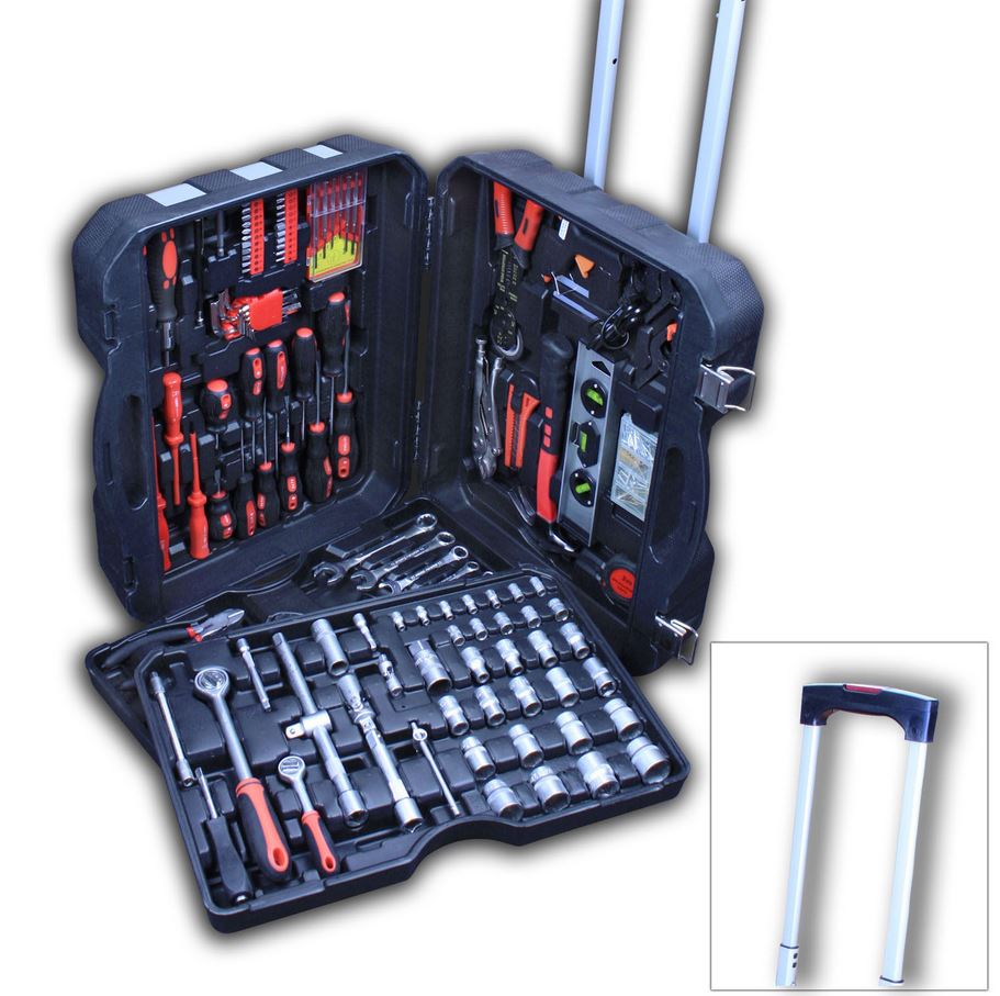 TLG Werkzeugkoffer   205 Teile mit Chrom Vanadium CV Schlüsselsätzen für 59,95€