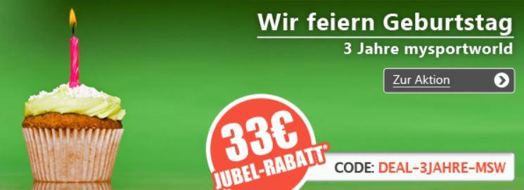 mysportworld   SALE mit bis zu 60% Rabatt und 33€ Gutscheincode ohne MBW.