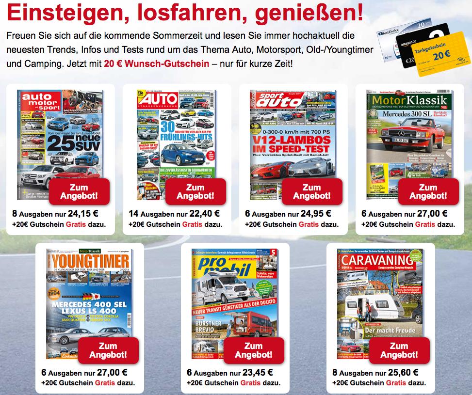 Viele Automagazine schon ab 2,40€ dank Prämie