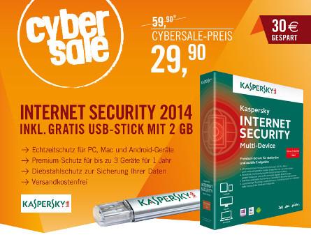 Kaspersky Internet Security 2014 für 29,90€ + 2GB USB Stick