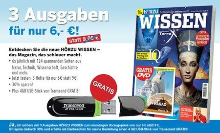 HÖRZU WISSEN: 3 Ausgaben + GRATIS 4GB Transcent USB Stick nur 6€