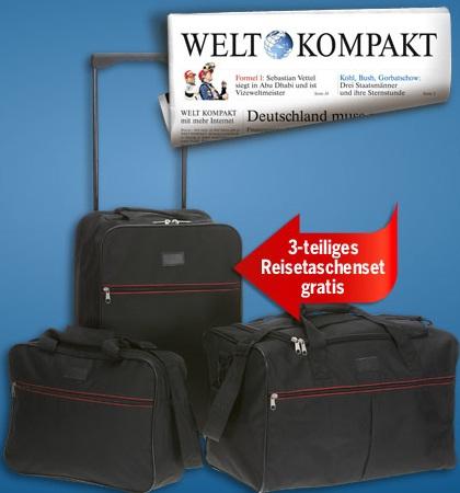 4 Wochen Welt Kompakt plus Trolley und Taschenset für nur 11€ (Selbstkündigend!)