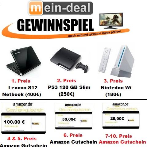 Großes Mein Deal.com Gewinnspiel! Mit Preisen im Wert über 1000€ !!! Kostenlose Teilnahme