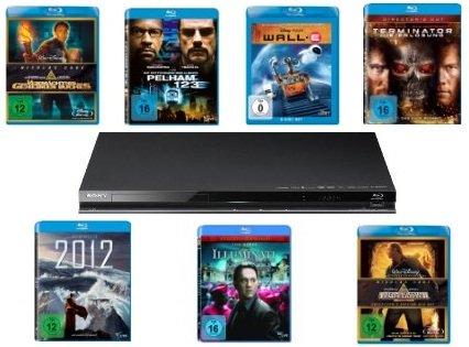 Knaller Bundle: SONY Blu ray Player BDP S370 plus 7 Blu Rays   175 €