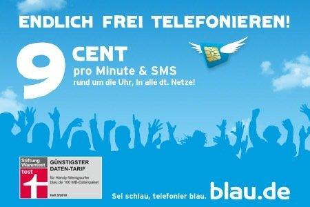 blau.de SIM Karte (Prepaid) mit 20€ Guthaben für 9,95€ (Nur 9Cent/Min.)