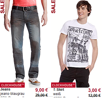 *Update* Große C&A Sale Aktion (T Shirts ab 3€, Jeans ab 9€)