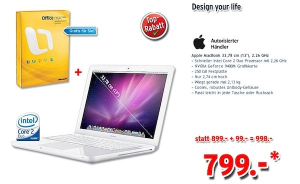 *Insolvenzware* Apple MacBook White inkl. Microsoft Office nur 799€ (Preisvergleich 960€!)