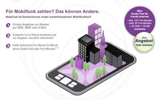 Durch Netzclub 100% kostenlos telefonieren und surfen durch Werbe SMS