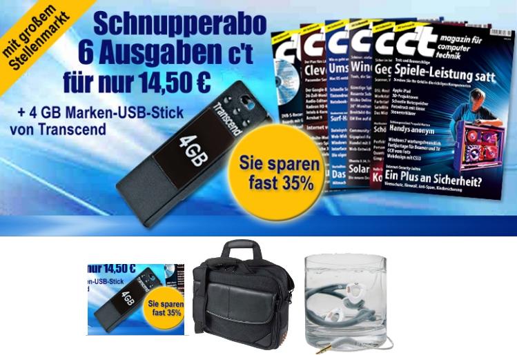 6 Ausgaben c't im Miniabo + 4GB Trancend USB Stick nur 14,50€