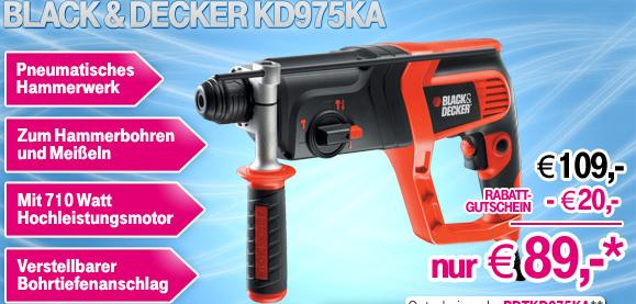 Black & Decker Bohrhammer KD975KA 710 W +Koffer & Zubehör für 89€ (Preisvergleich 103€)
