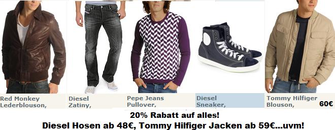 UPDATE HAMMER 15€ Gutschein + 20% Rabatt auf alles! Hilfiger Jacken ab 59€, Diesel ab 48€