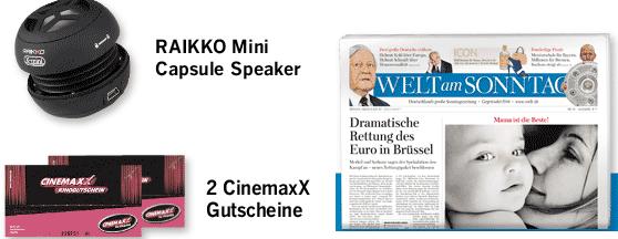 9 Ausgaben WELT am Sonntag + 2 Cinemaxx Tickets nur 18,60€ (Selbstkündigend!)