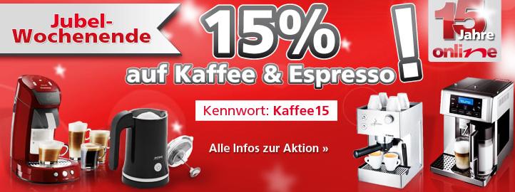 Nur heute & morgen! 15% Rabatt auf alle Kaffee und Espressomaschinen! (Die neue Senseo ab 50€!)