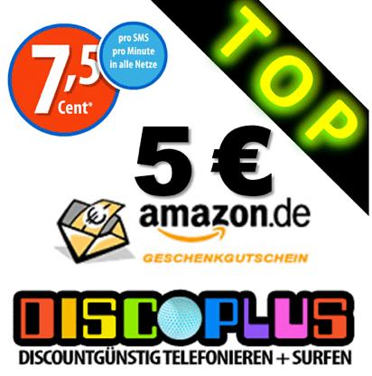 discoPLUS Prepaid Starterpaket mit 35€ Startguthaben + 5€ Amazon Gutschein für 9,95€
