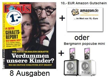 Mini Abo Tipp! 8 Ausgaben Focus + Prämie (Amazon Gutschein, Pop Cube) nur 18,40€