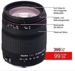 SIGMA 28 300mm Makro Objektiv für Nikon nur 99€ inkl. Versand (Preisvergleich 178€)