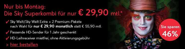 Letzte Chance! Sky Welt + 2 Pakete (Bundesliga, Sport, Film) + Sky HD + HD Receiver nur 29,90€/Monat (statt 55,90)
