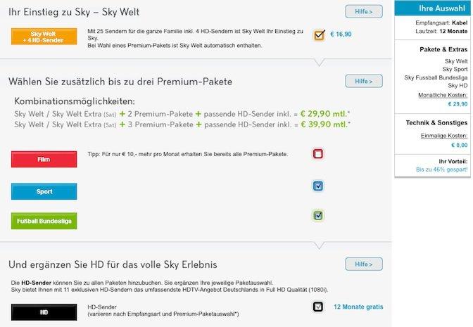 Sky Welt + 2 weitere Pakete nur 29,90€ statt für 55,90€ (limitiert!)