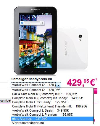 Preisfehler! Schnell! Samsung Galaxy Tab nur 238€!