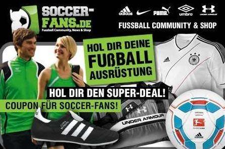 [Groupon] Gutscheine für Soccer Fans.de: 14,99€ statt 40€ und 24,99€ statt 60€ für alle Sportartikel!
