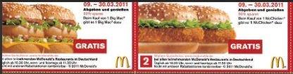 Neue Mc Donalds Gutscheine zum ausdrucken (09.03. – 30.03.2011)