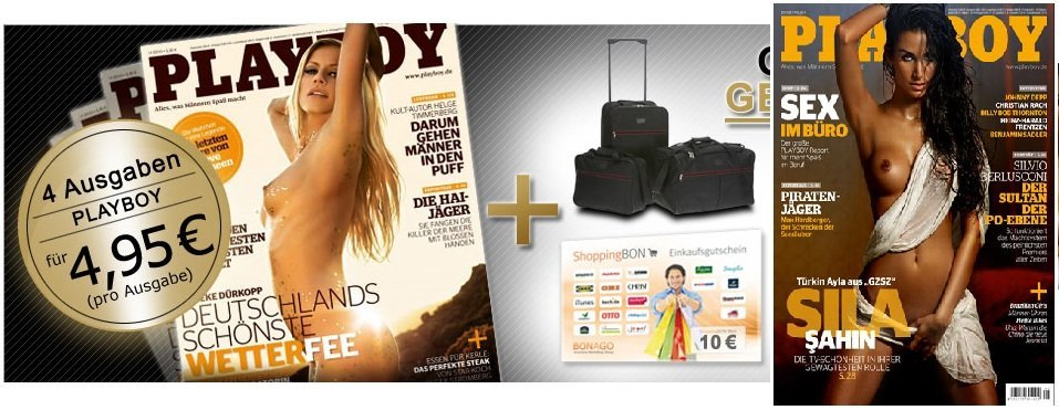 Playboy Mini Abo ? 4 Ausgaben des Playboy im Mini Abo + Taschenset oder 10€ Bon Gutschein nur 19,80€