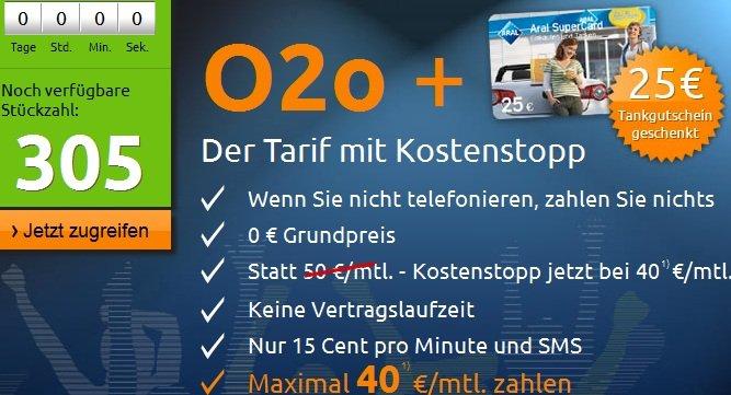 Nur noch wenige! KOSTENLOSE O2o Handykarte bestellen und 25€ ARAL Gutschein geschenkt dazu!