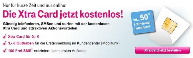 KOSTENLOS! T Mobile Xtra PrePaid Card inkl. 50 Frei Minuten