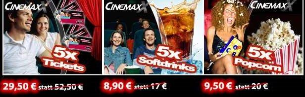 CinemaxX Rabatt Aktion! 5x Tickets ab 29,50€ / 5x Cola ab 8,90€ / 5x Popcorn ab 9,50€