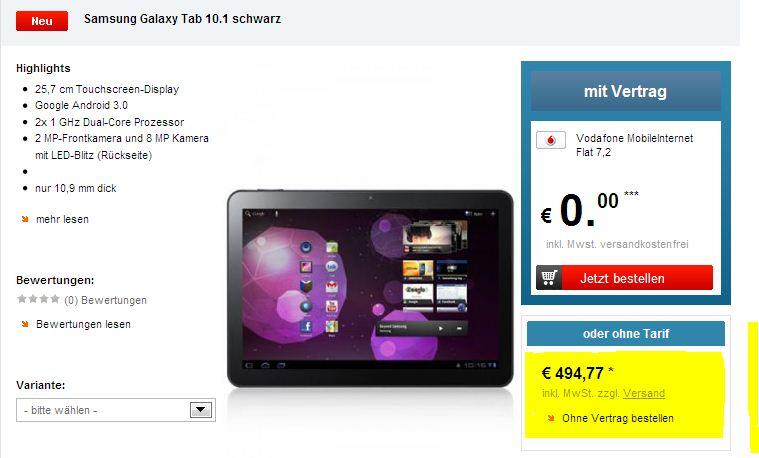 Samsung Galaxy Tab 10.1! Preisfehler? Für 494,77€ + Lieferung