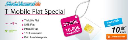 T Mobile Flat Schnäppchen! (Telekom Flat + SMS Flat + Surf Flat + 120 Minuten) nur 10€/Monat