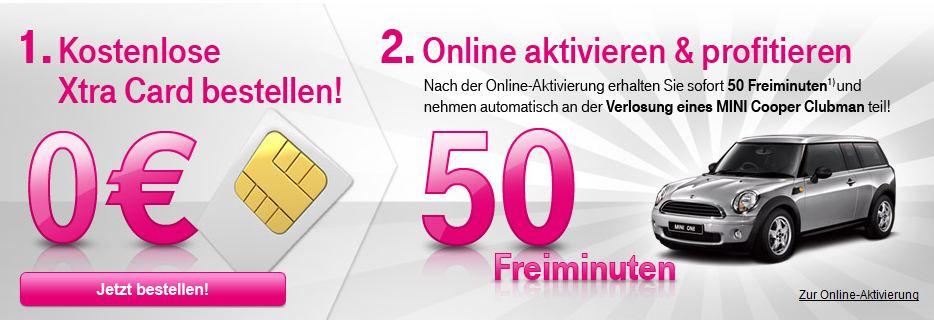 KOSTENLOS! T Mobile Prepaid Xtra Card + 50 Freiminuten