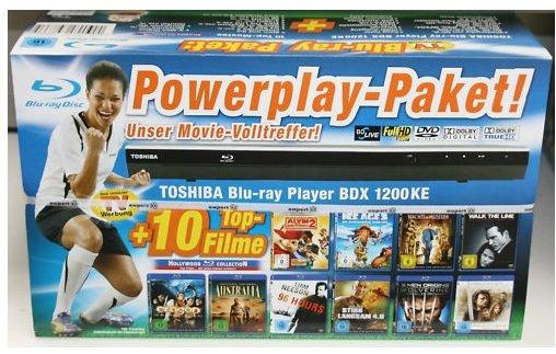 Powerplay Paket! Toshiba BDX 1200 Blu ray Player + 10 Blu rays nur 124€